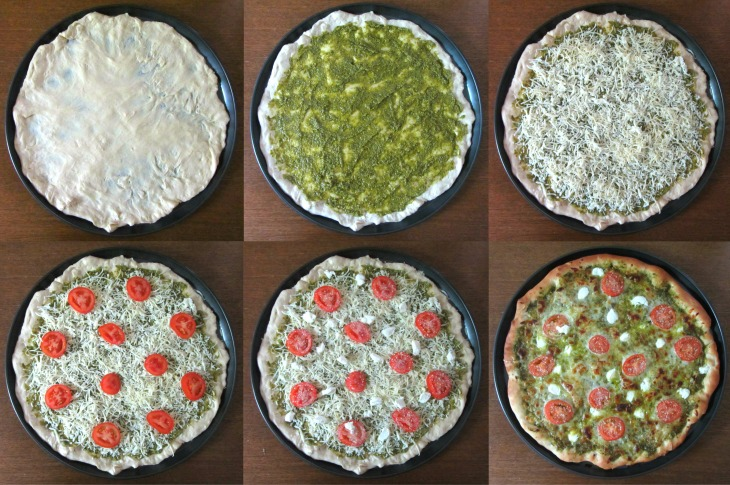Pesto pizza collage