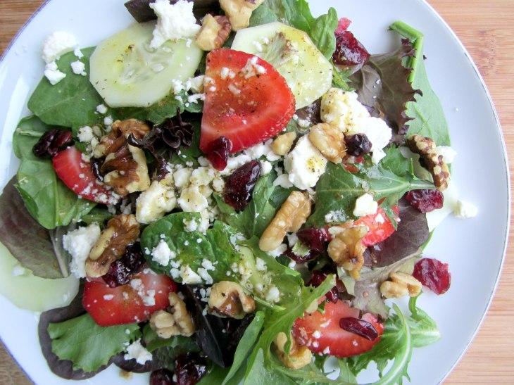 Strawberry, Walnut and Feta Salad closer