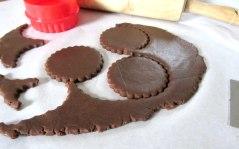 Chocolate cutout cookies cuts
