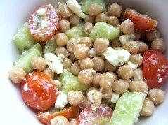 Chickpeas and feta salad bowl