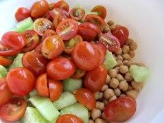 Chickpeas and feta salad veggies